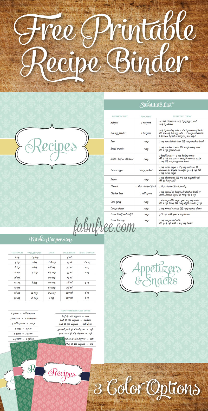 5 best images of free printable recipe binder templates for Free online cookbook template