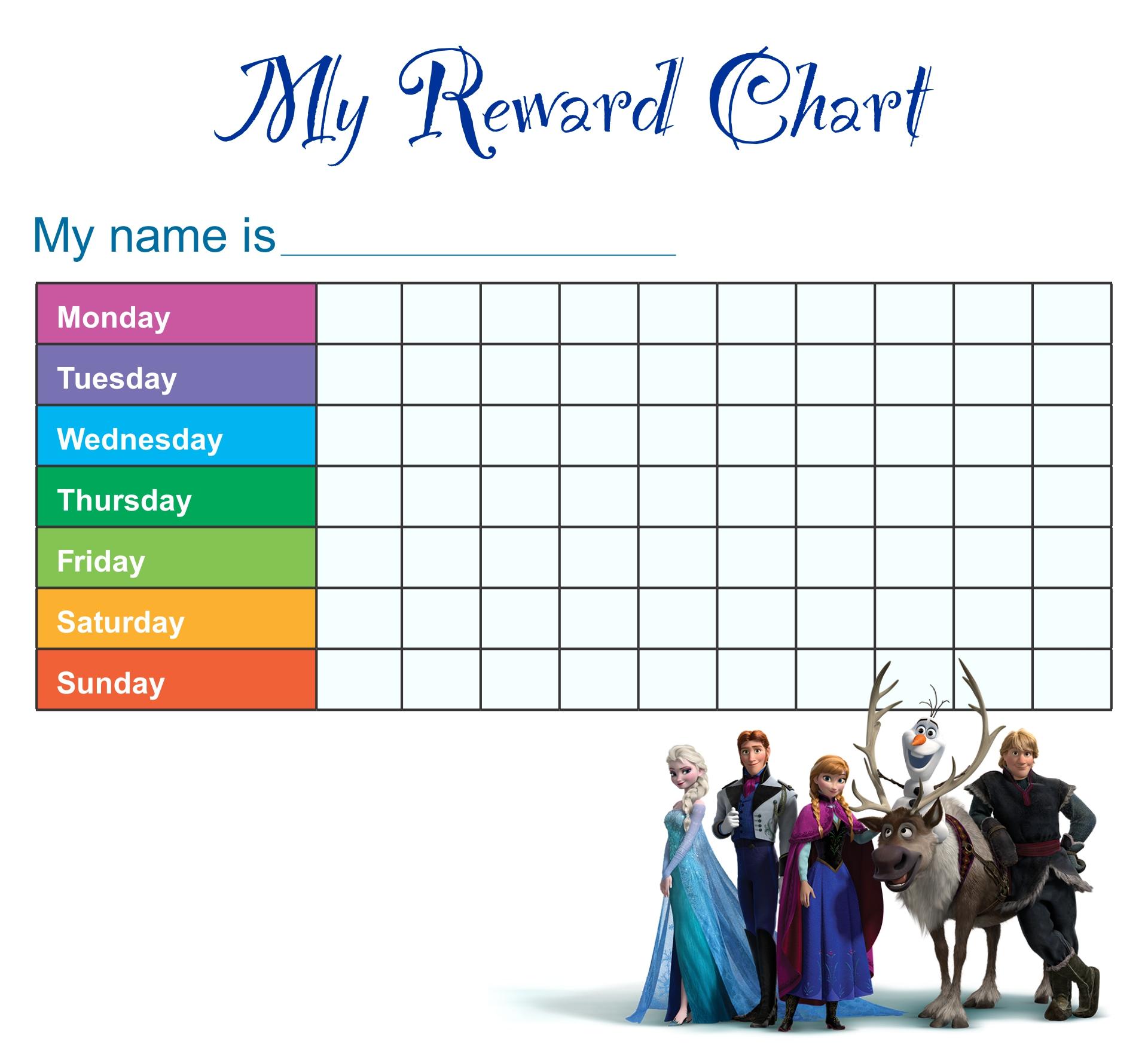 Frozen Disney Reward Chart