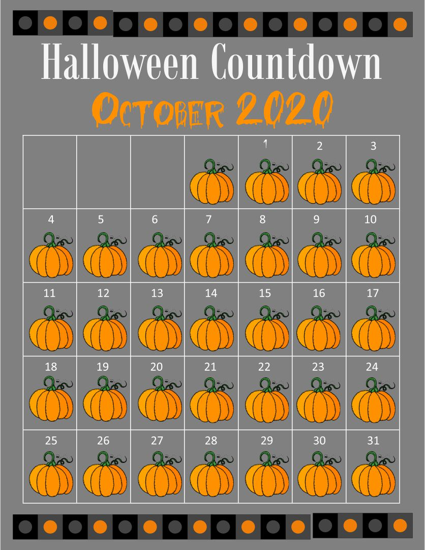 6 Images of Halloween October 2014 Calendar Printable