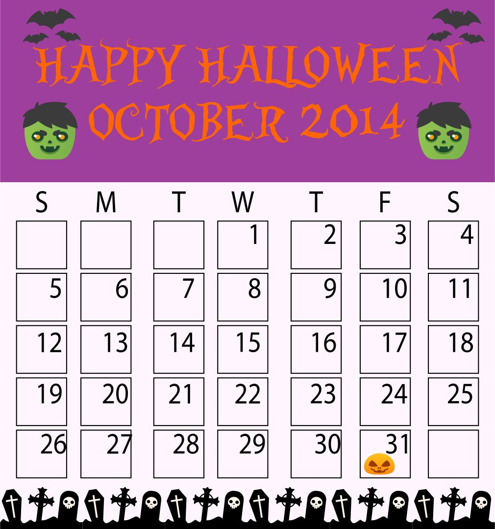 Halloween October 2014 Calendar Printable Free