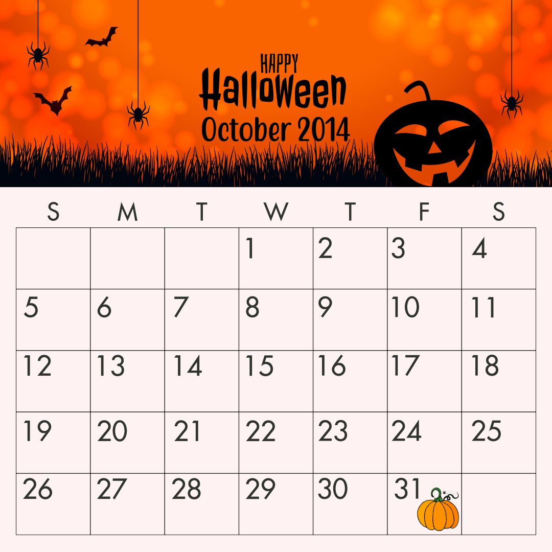 Halloween October 2014 Calendar