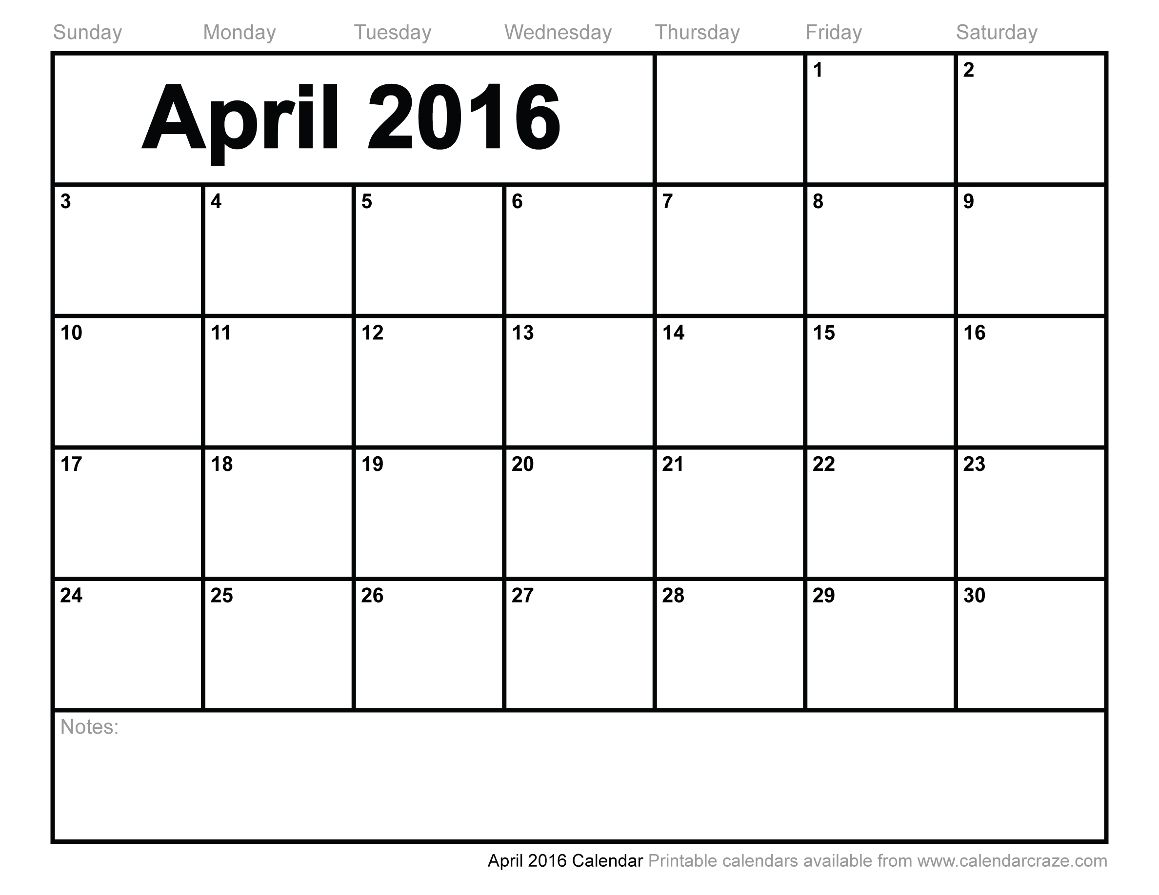 7 Images of Printable 2016 Monthly Calendar April