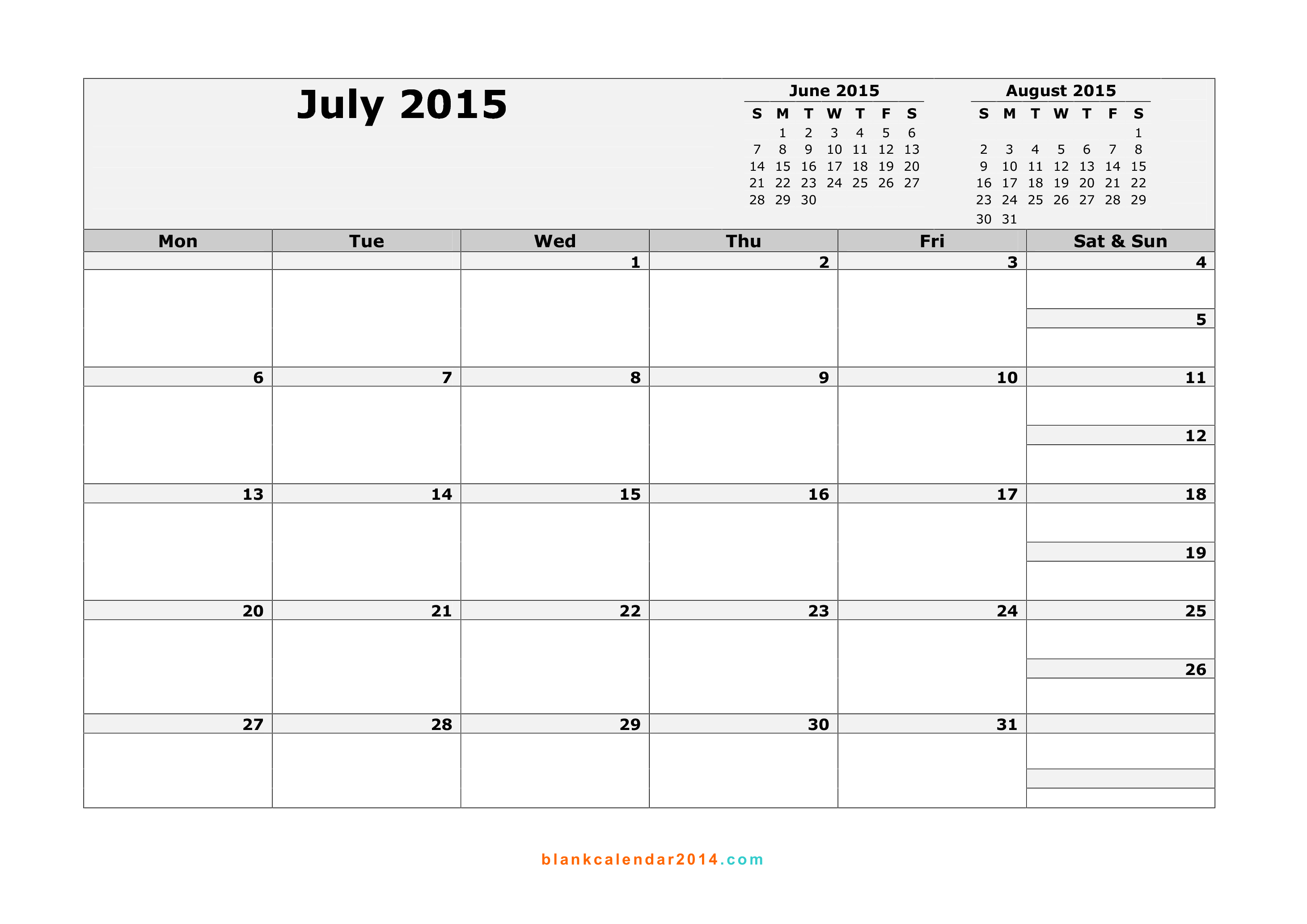 8 Best Images Of July 2015 Printable Calendar By Month