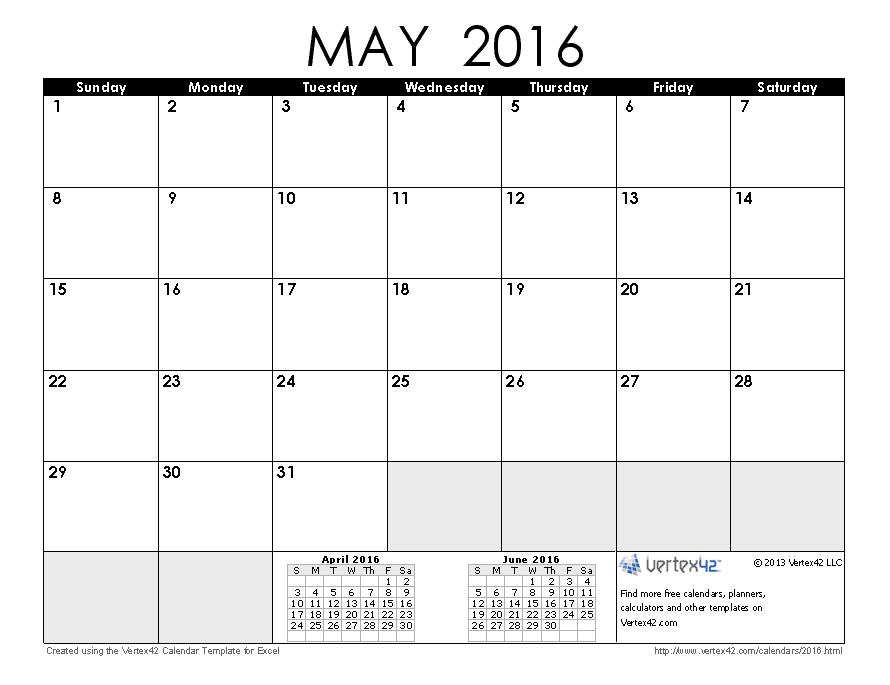May 2016 Calendar Printable