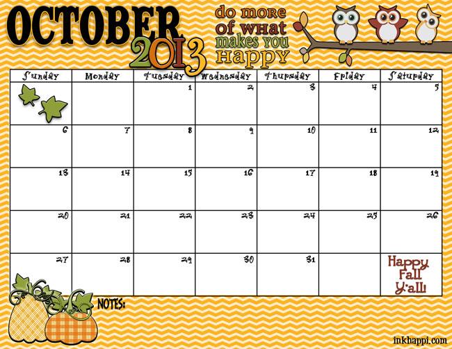 October Calendar 2013 : Best images of printable schedule for october month