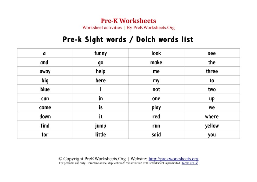 4 Images of Pre-K Sight Words List Printables