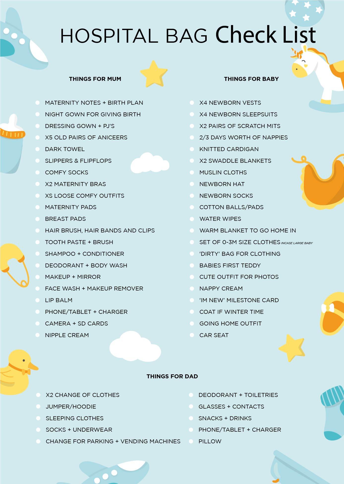 Pregnancy Hospital Bag Checklist Printable