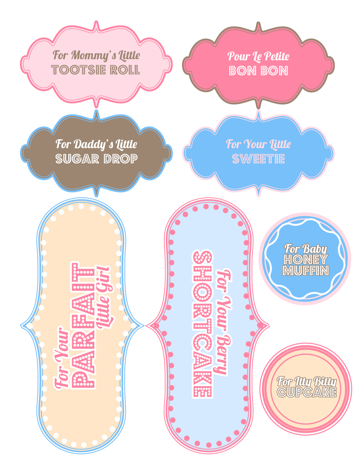 6 best images of printable baby shower favor labels free printable baby shower girl tags free for Printable baby shower favor tags