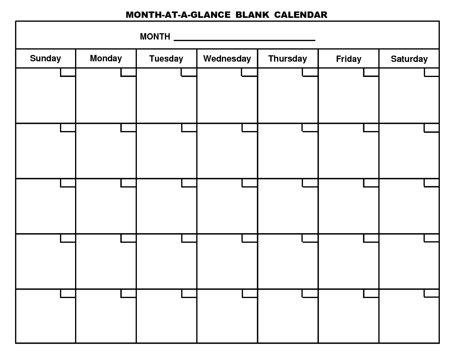 6 Images of Month At A Glance Blank Calendar Printable