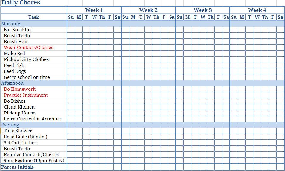 9 Images of Printable Chore Calendar