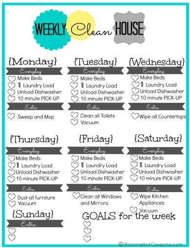 4 Images of Weekly House Cleaning Checklist Printable
