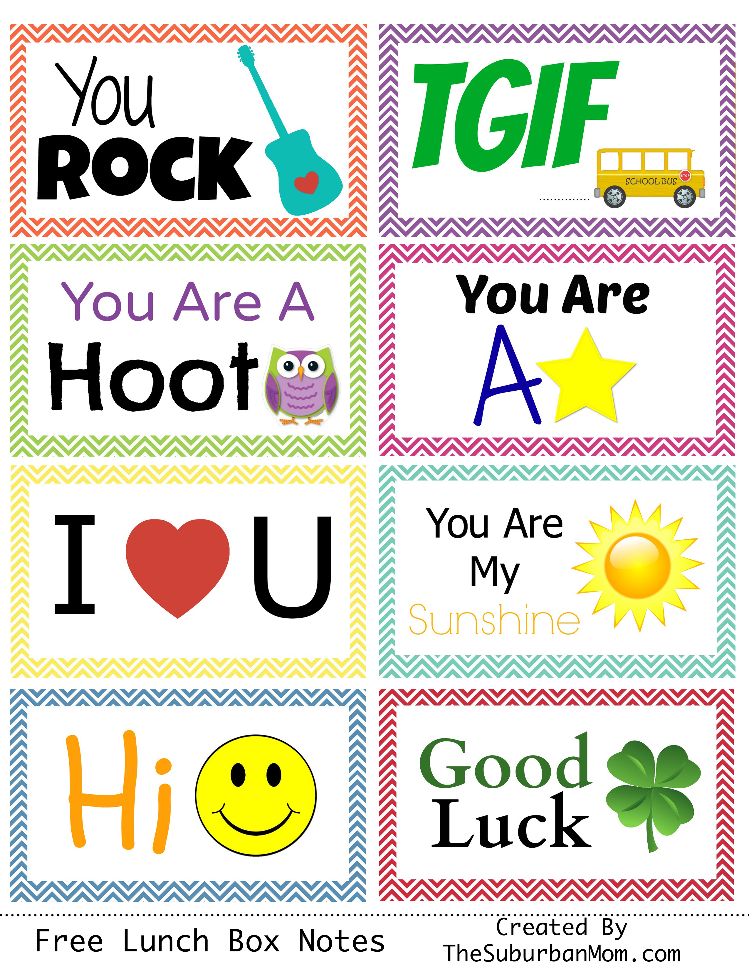 7 Images of Back To School Free Lunch Box Notes Printable
