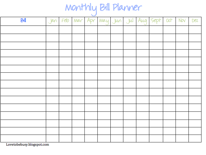 ... Free Printable Monthly Bill Organizer Template & Free Printable Annual