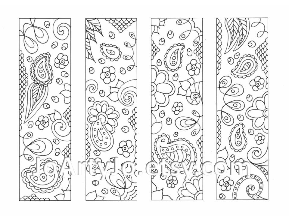 Printable Paisley Coloring Pages Bookmarks