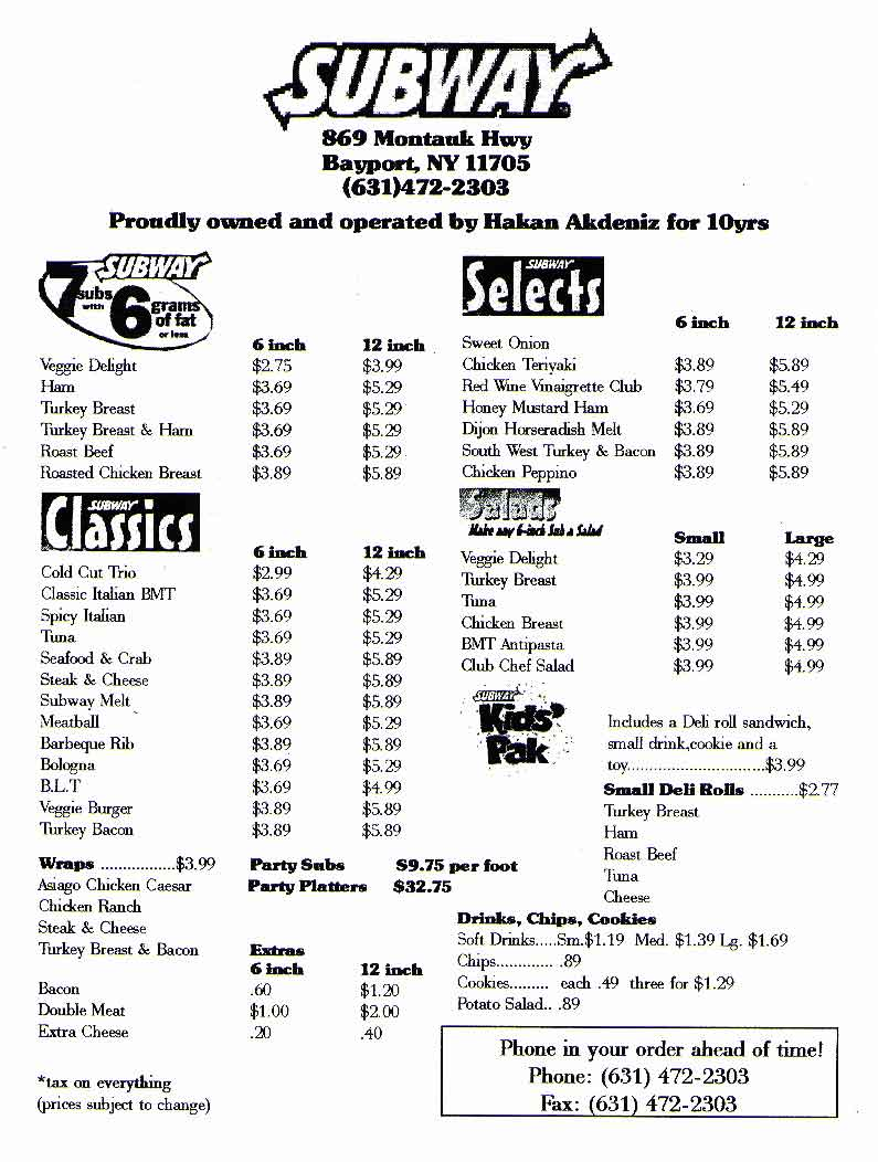 6 Images of Subway Menu With Prices Printable