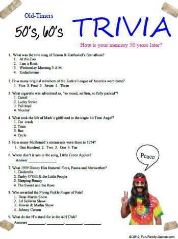 9 Images of 60s Trivia Questions Printable
