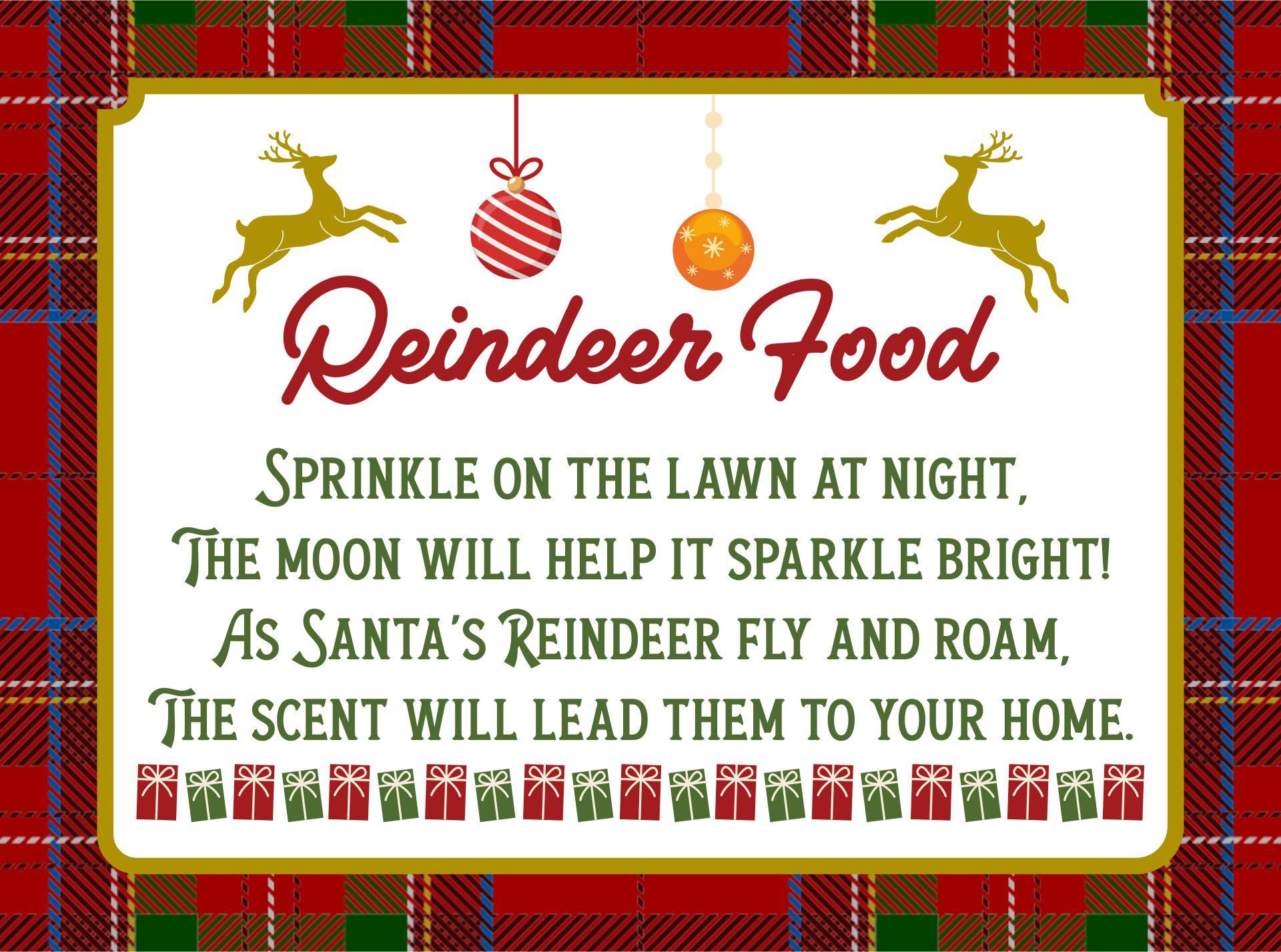 4 Images of Reindeer Food Poem Printable