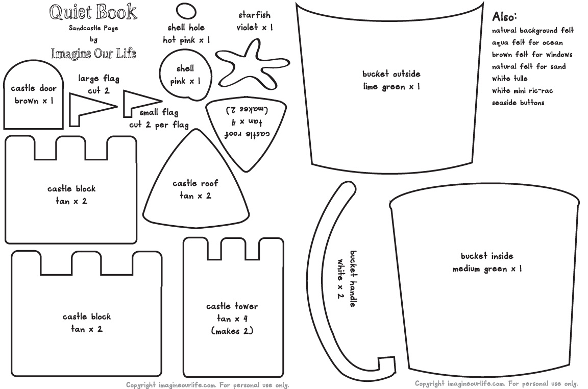 6 Images of Printable Sand Bucket Pattern