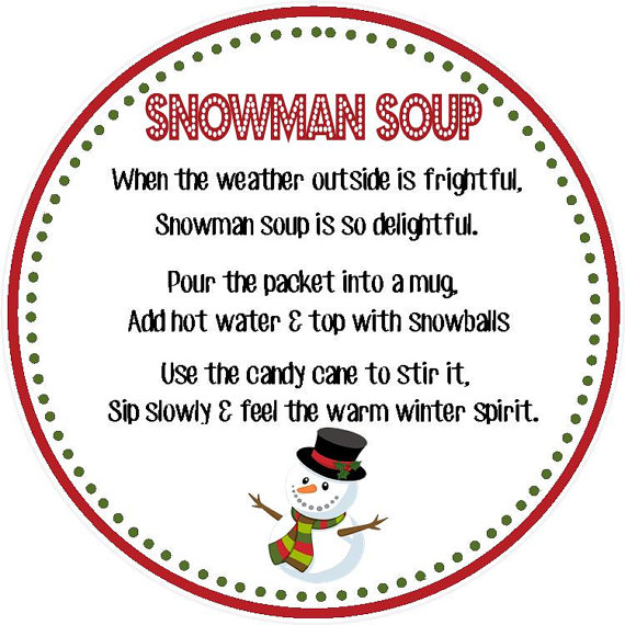 4 Images of Printable Snowman Soup Poem Tags