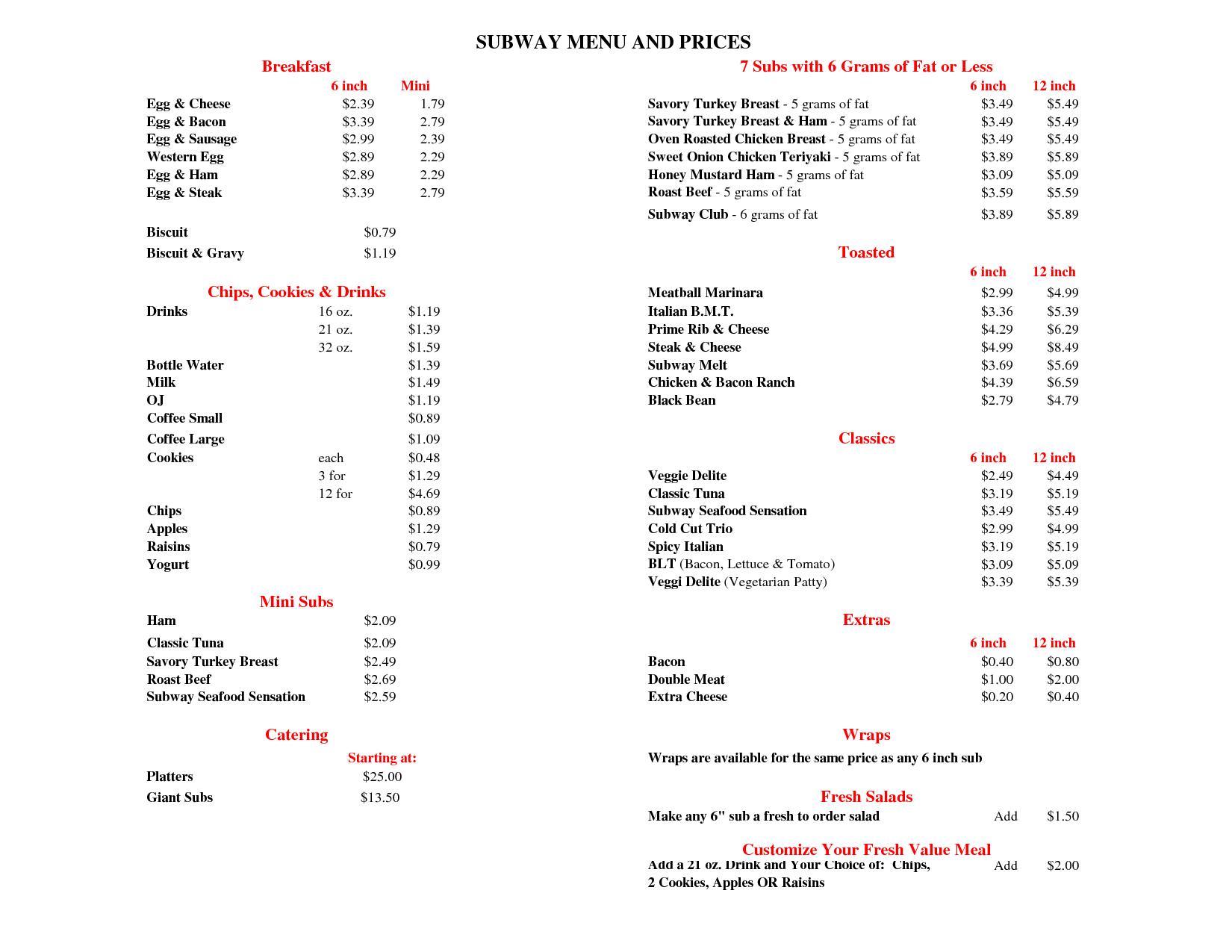 Subway Menu with Price List