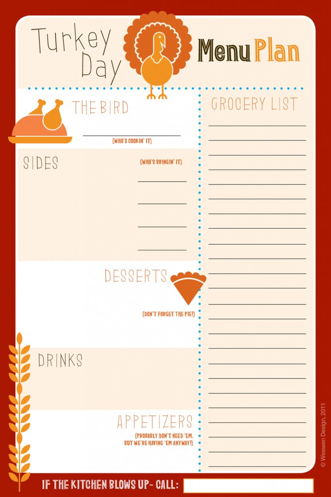 6 best images of thanksgiving printable list for Menu planning template with grocery list