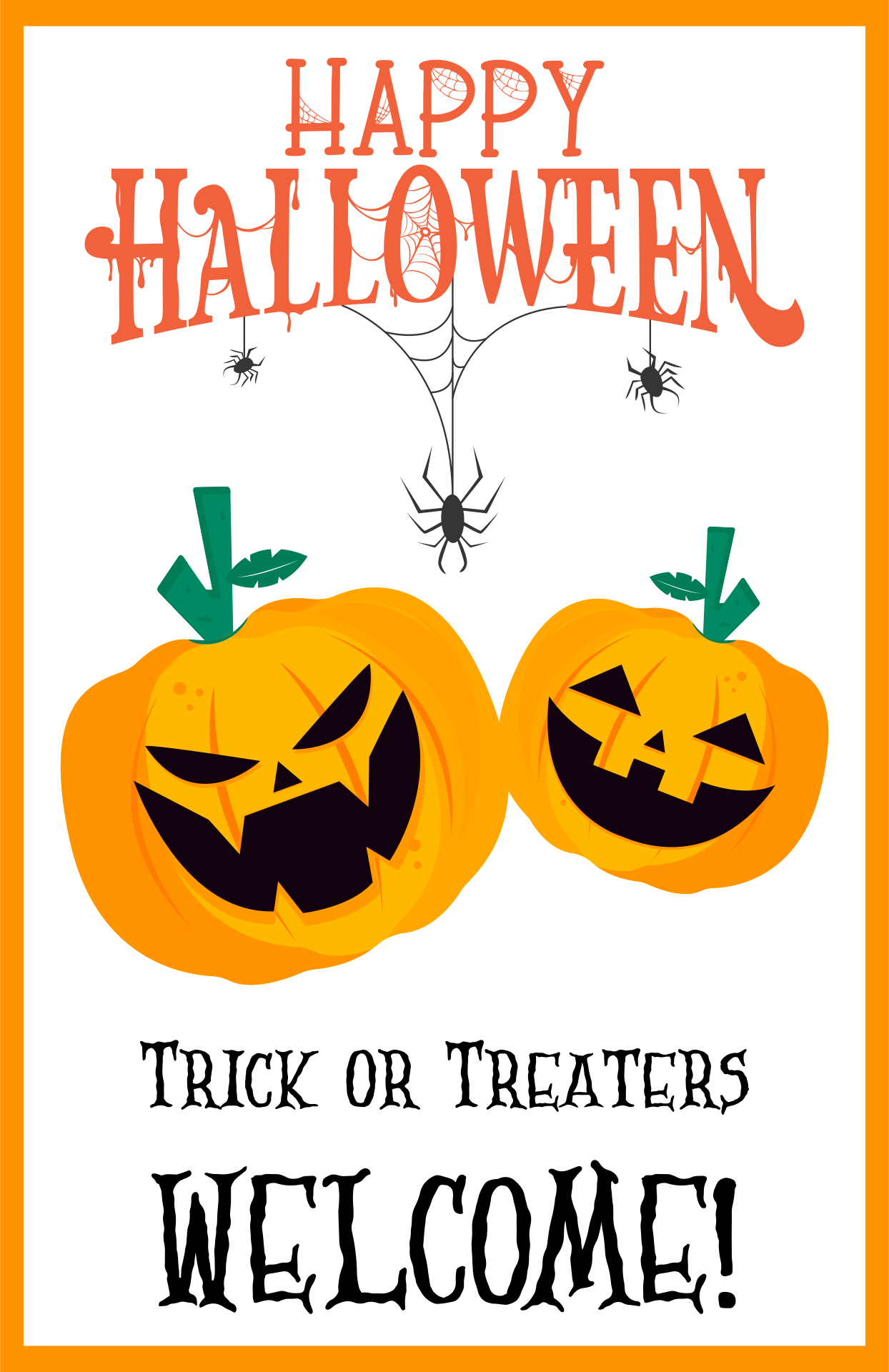 Trick or Treaters Welcome Sign Printable