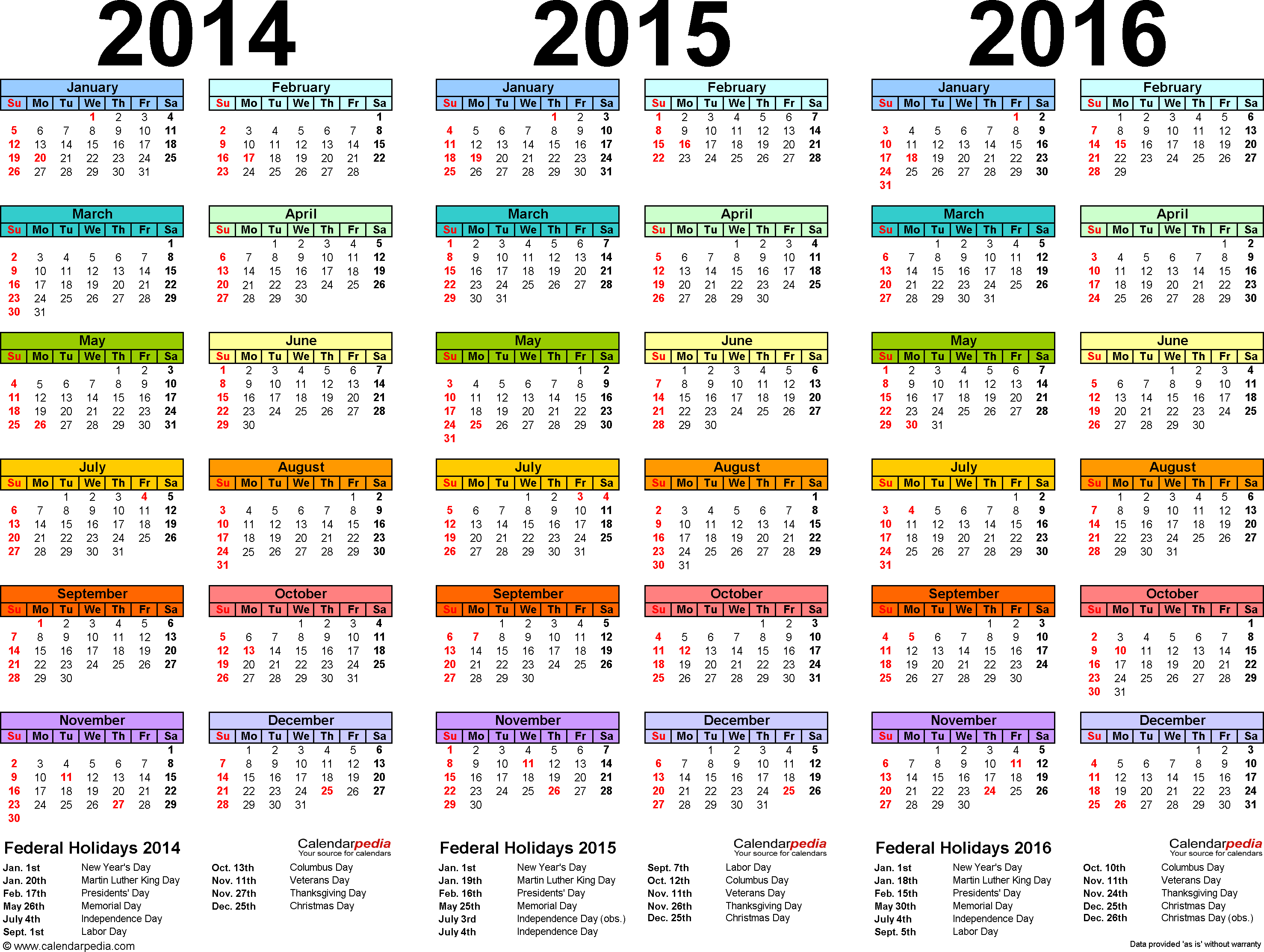 8 Images of 3 Year Calendar 2014 2015 2016 Printable