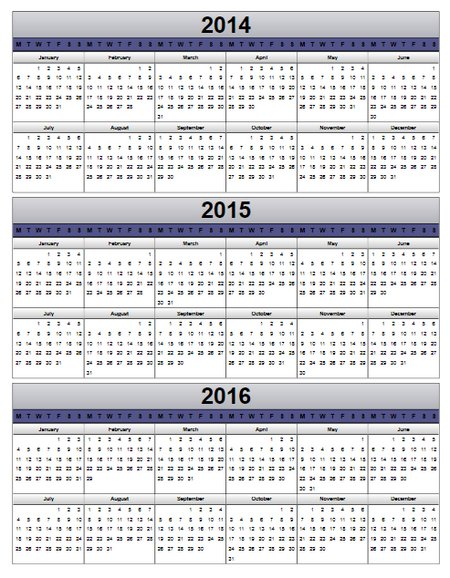 calendars for 2014 and 2015