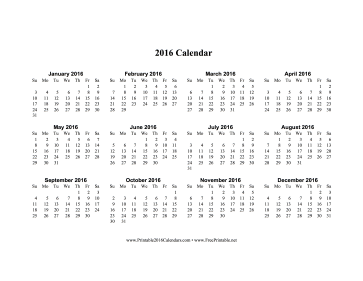 7 Images of 2016 Calendar Printable One Page