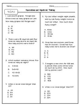 math worksheet : math test prep 4th grade worksheet  worksheets organized by grade : 4th Grade Math Review Worksheets