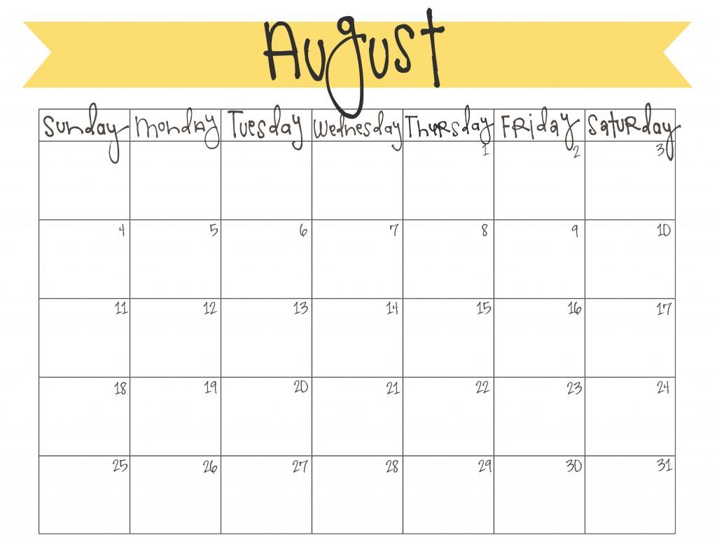 August 2014 Calendar Printable Free
