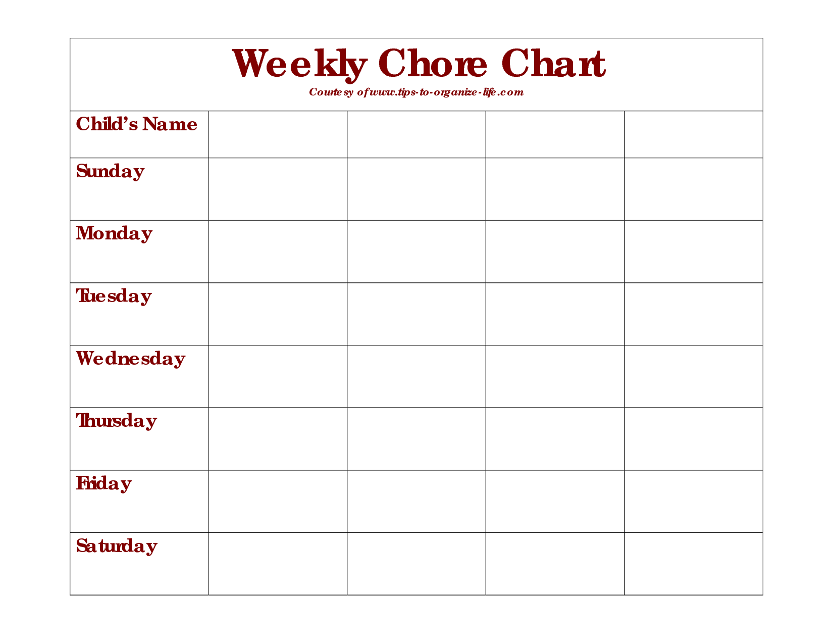 7 Images of Printable Blank Weekly Chore Chart Templates