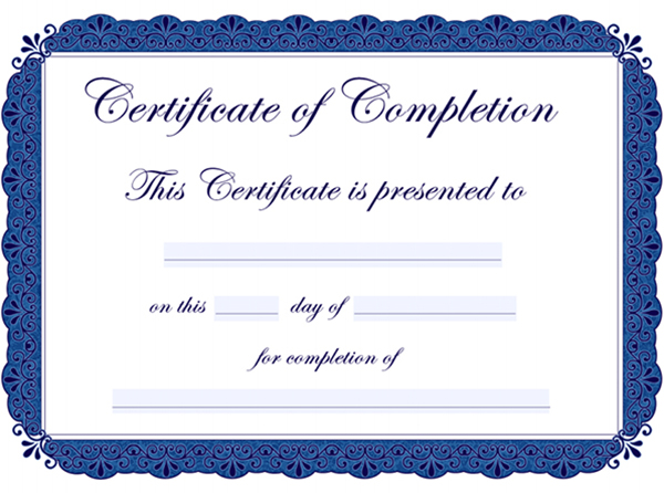 free template certificate of completion