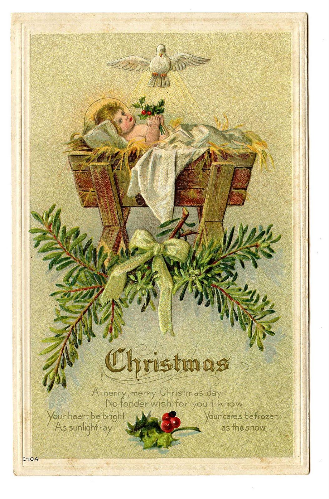 Christmas Baby Jesus in Manger Clip Art