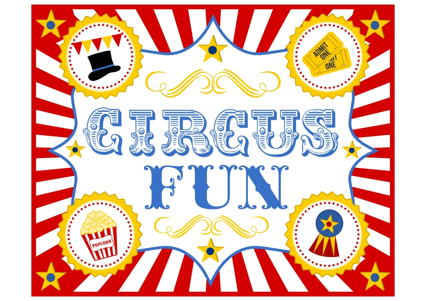 8 Images of Free Circus Printable Labels