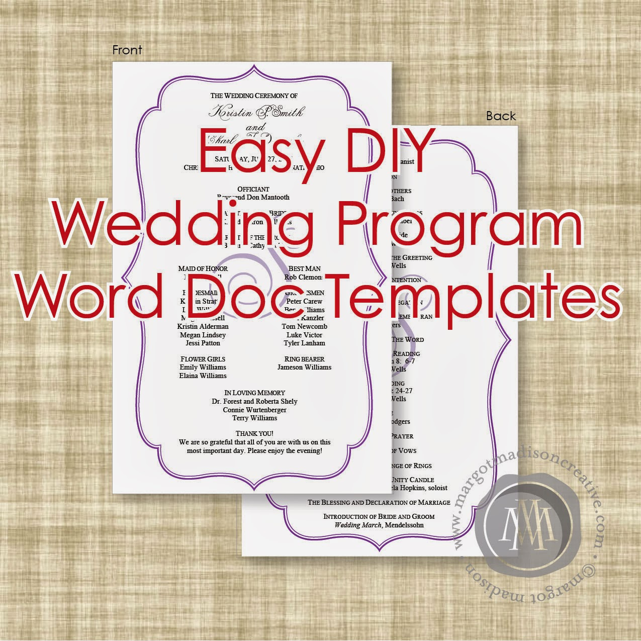 4 Images of DIY Printable Wedding Programs Templates
