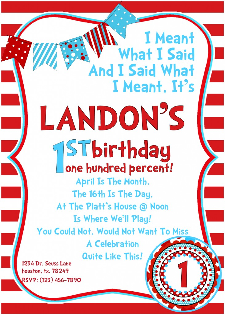 9 Images of Dr. Seuss Printable Birthday Invitations