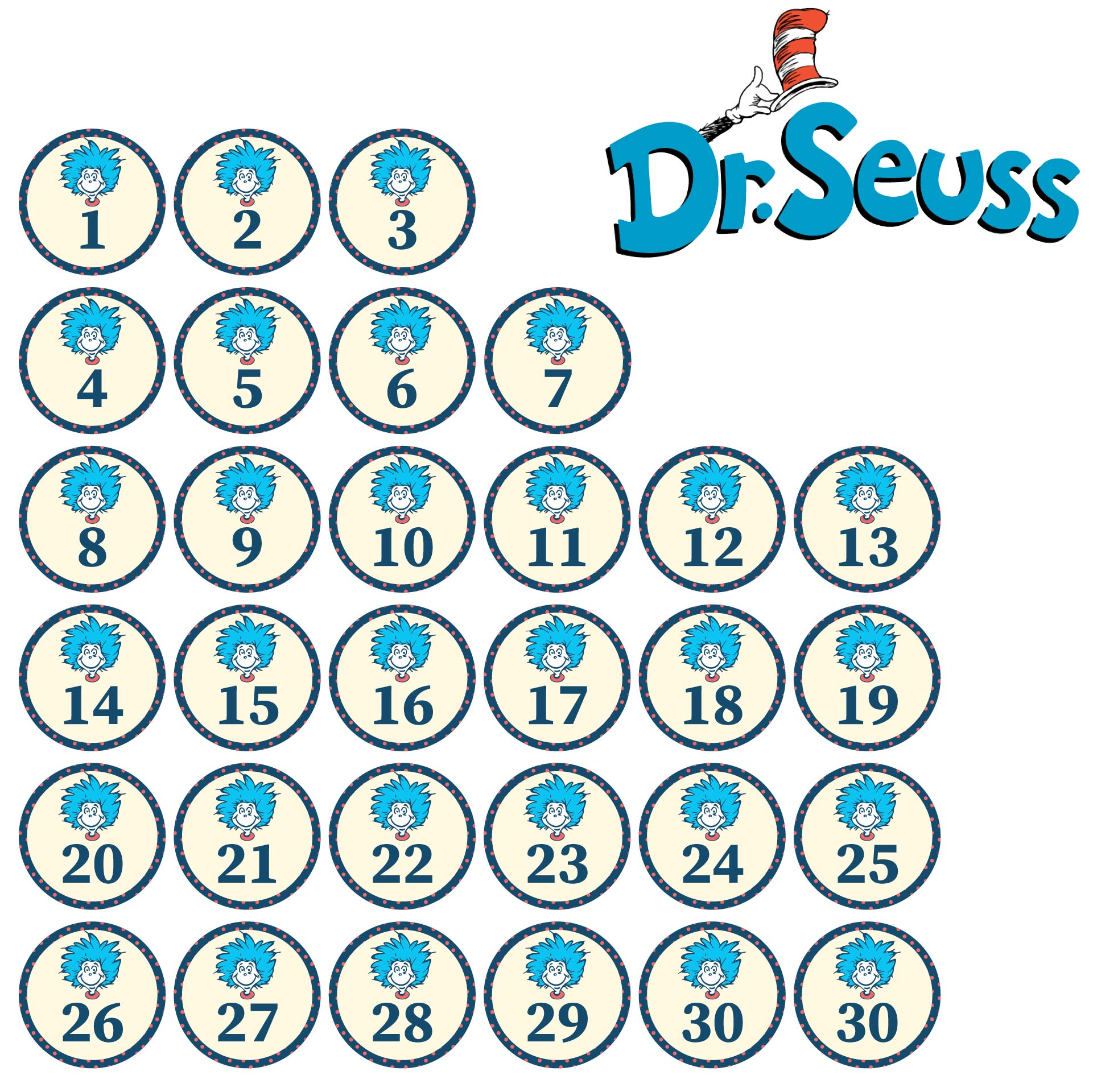 4 Images of Free Printable Dr. Seuss Calendar Numbers