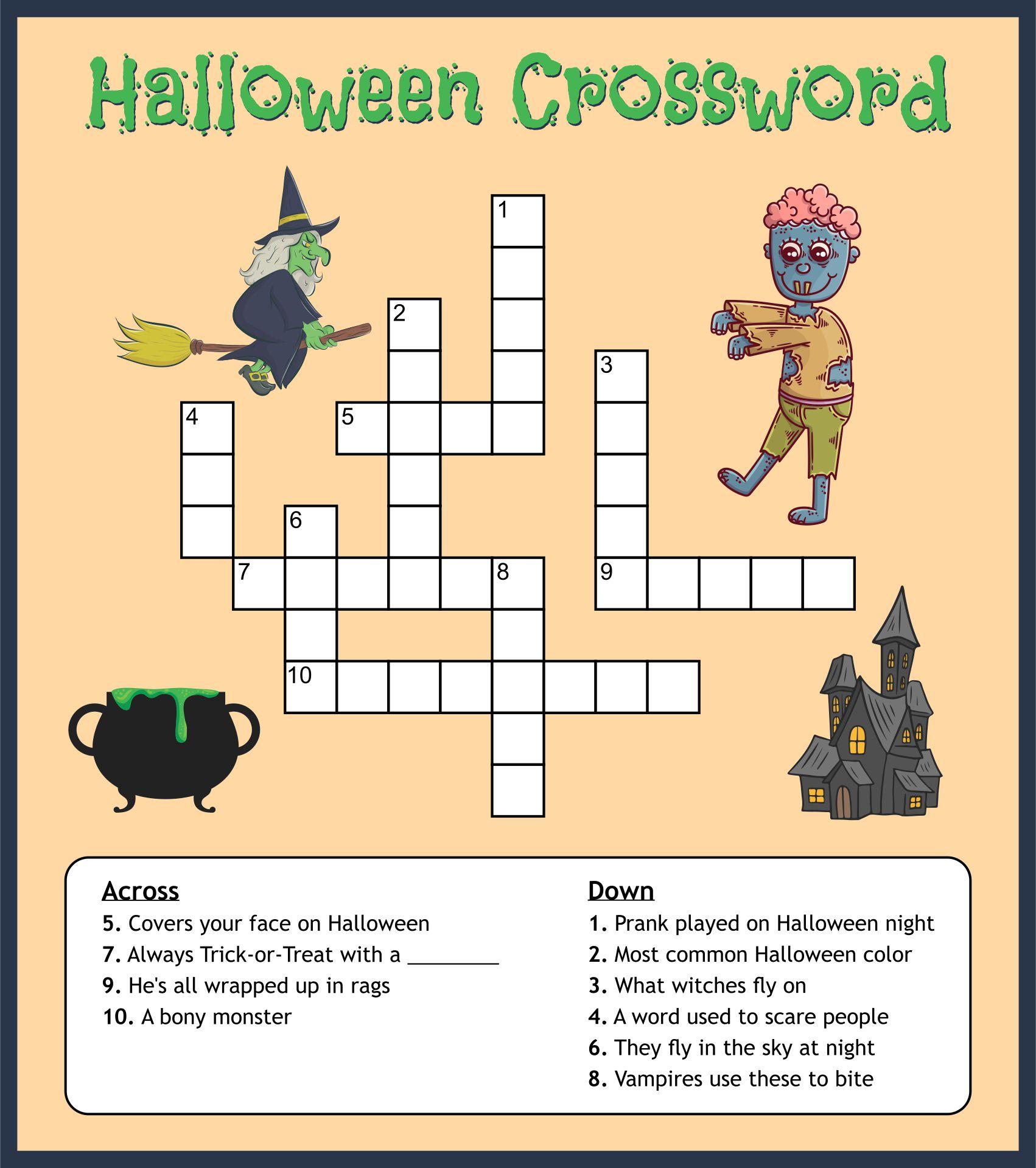 Easy Halloween Crossword Puzzles
