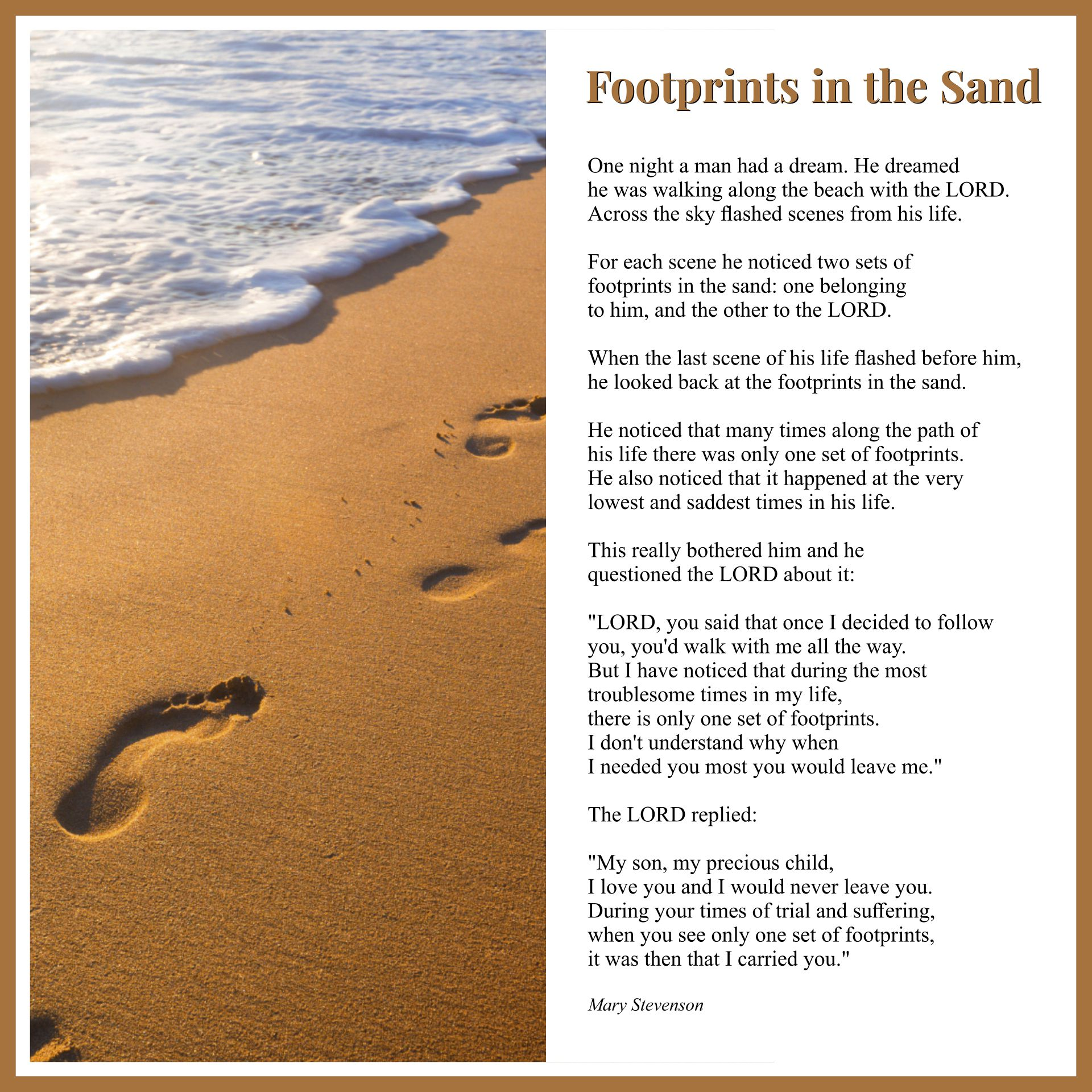 Geeky image for poem footprints in the sand printable
