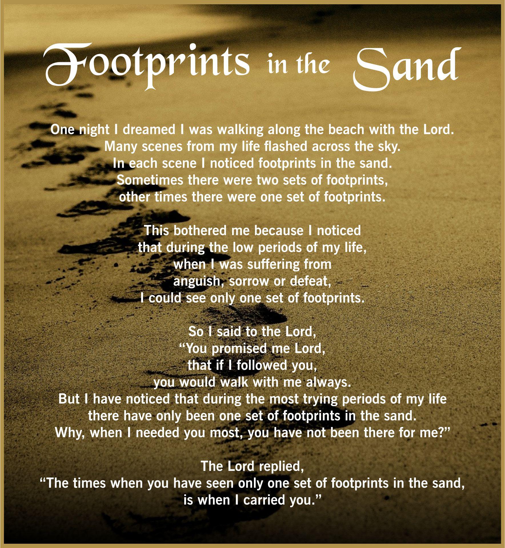 Footprints in the Sand Poem Printable