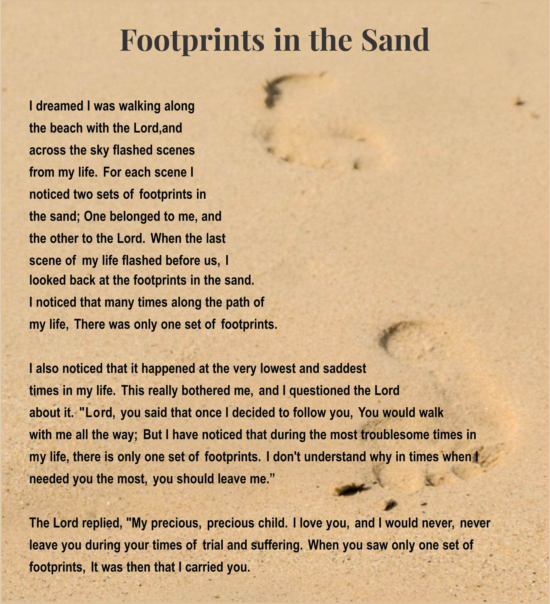 Unusual image throughout poem footprints in the sand printable