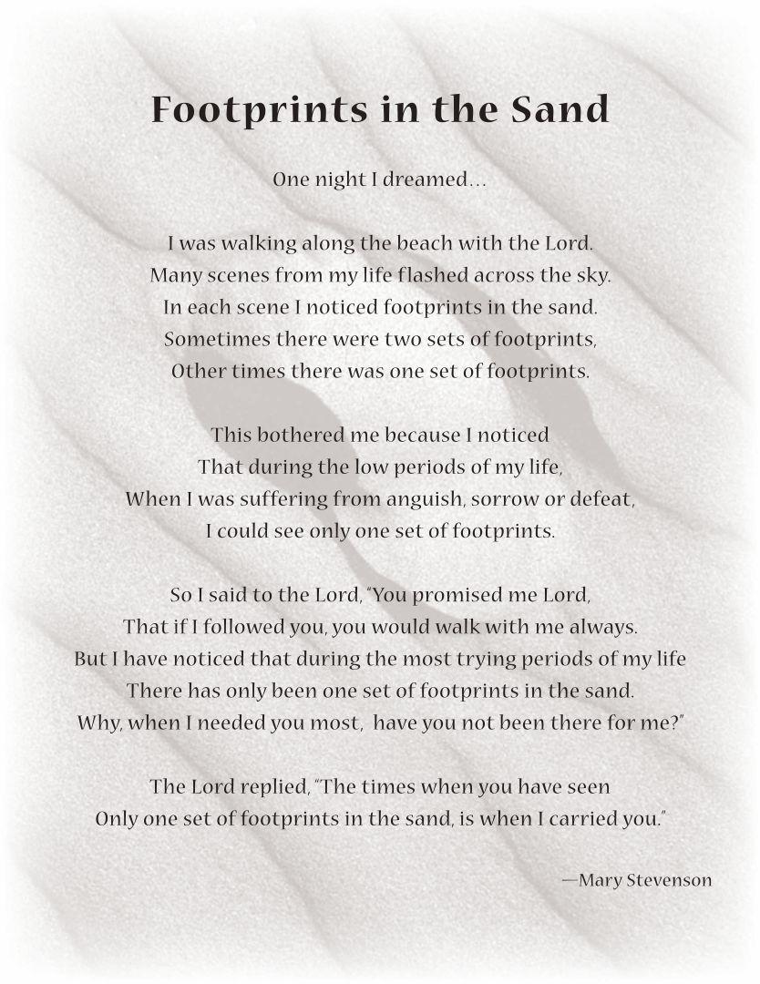 Footprints Sand Poem Printable