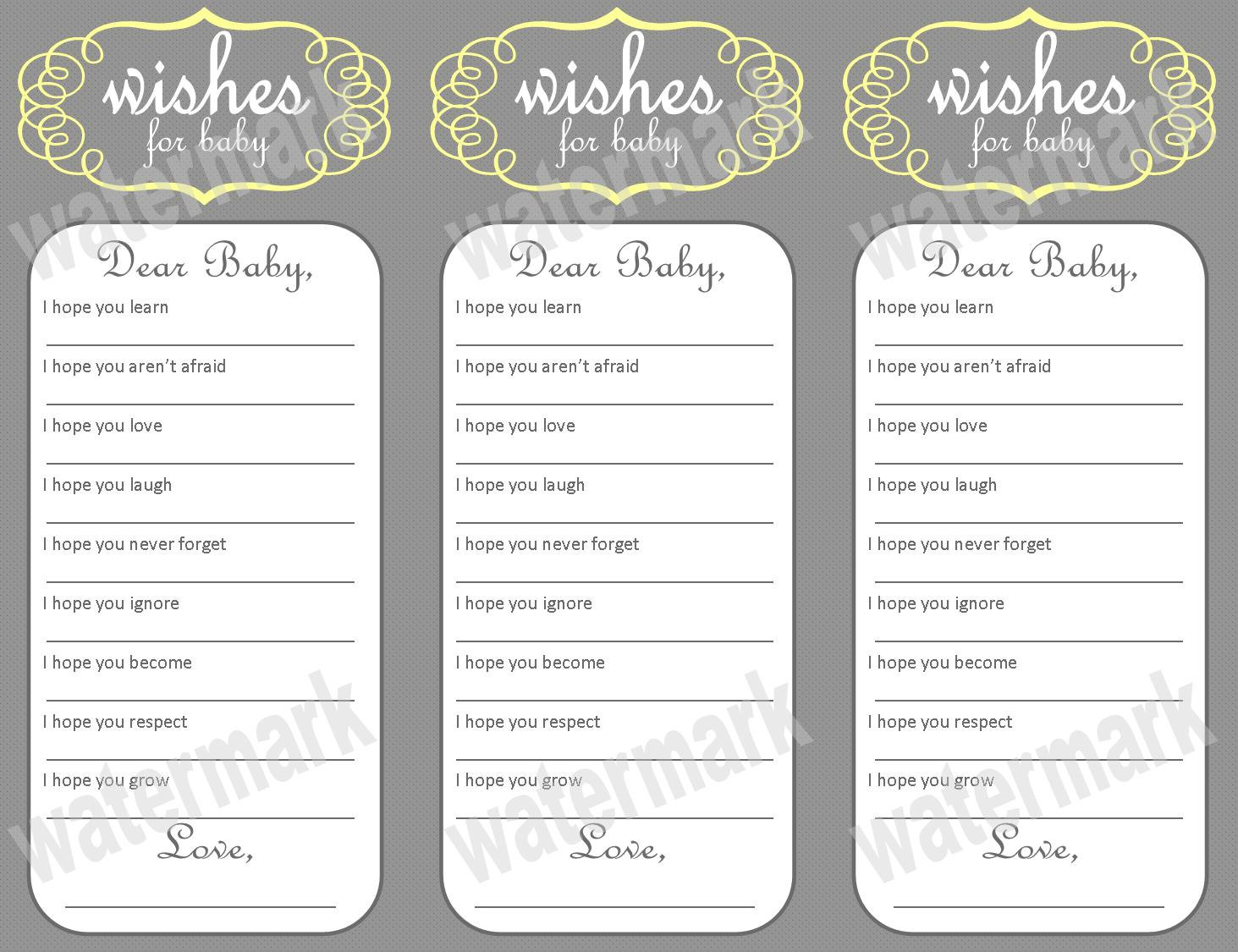 wishes for baby template printable - 5 best images of free printable baby wishes template