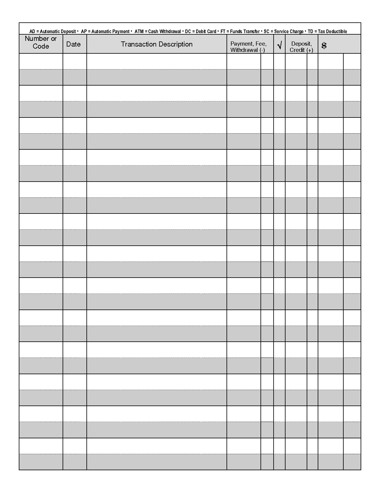 free printable checks template - 7 best images of free printable check transaction register