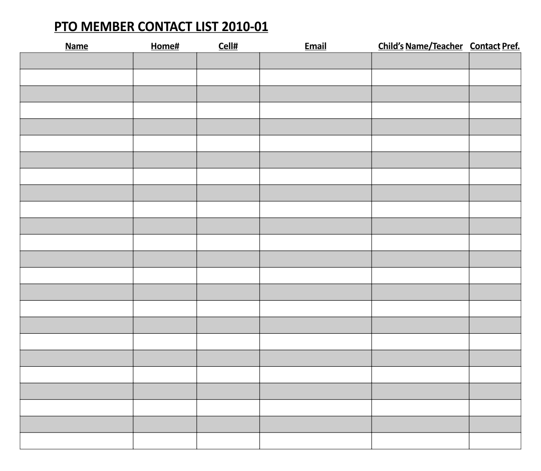 Printable Contact List Templates