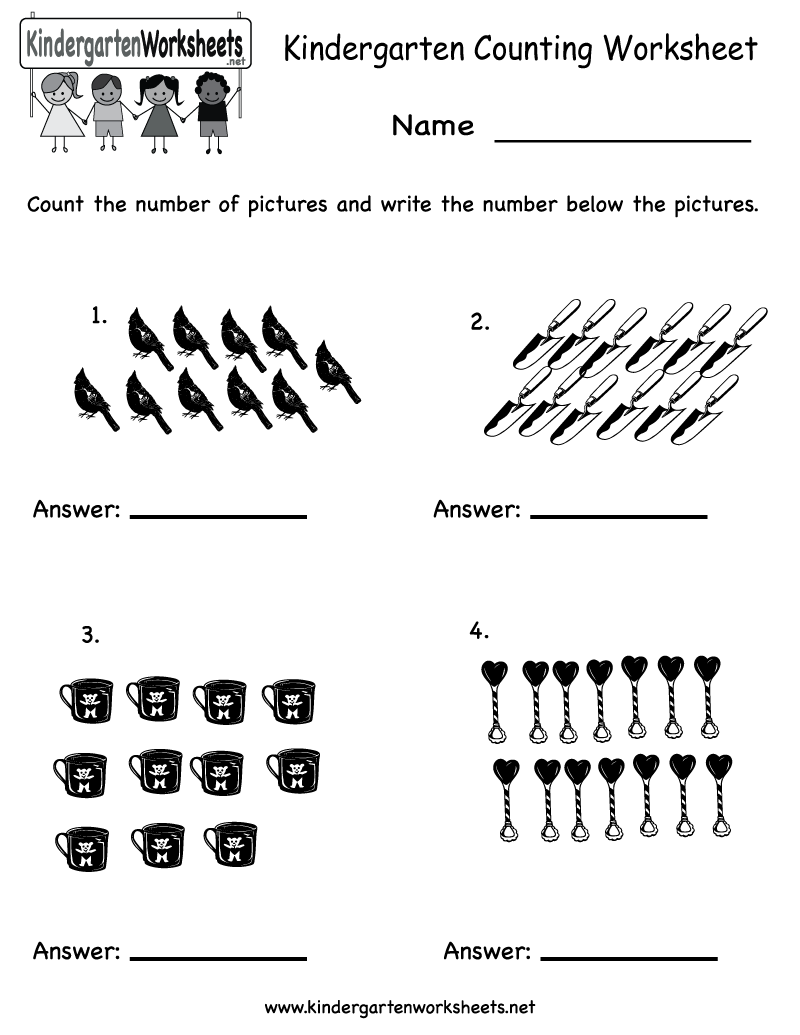 math worksheet : free counting math worksheets for kindergarten  worksheets for  : Printable Math Worksheets For Kindergarten