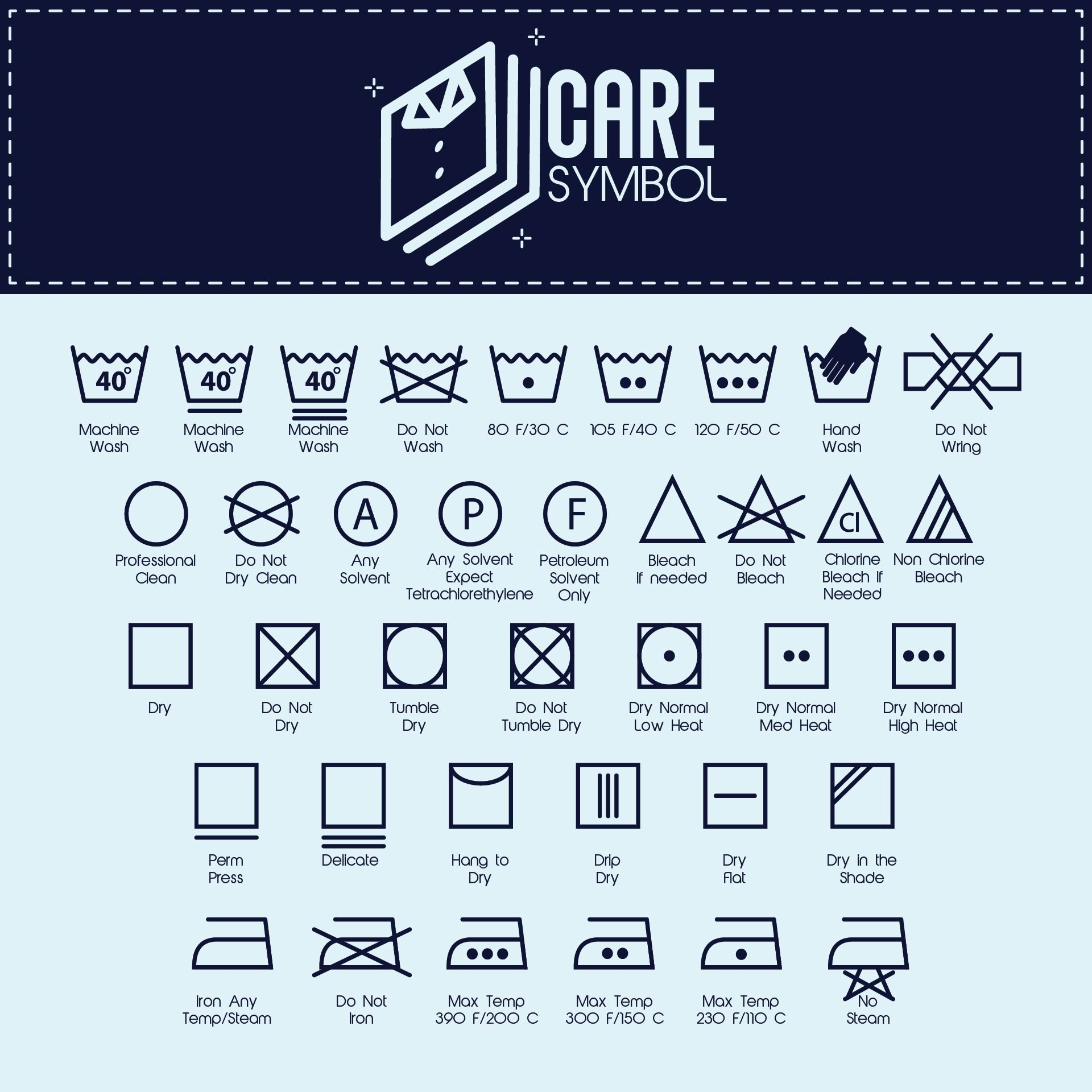 7 Images of Printable Laundry Care Symbol Chart