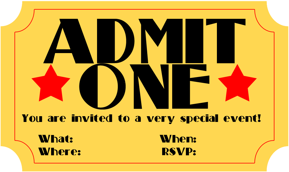 6 Images of Free Printable Movie Ticket Invitations