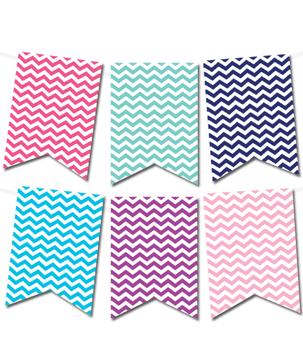 9 Images of Blue Chevron Pennant Banner Printable Free